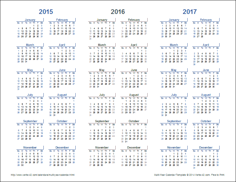 graphic relating to 3 Year Calendar Printable named 3-12 months Calendar Template for Excel