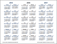 3 Year Calendar (Light Theme) - Landscape Orientation