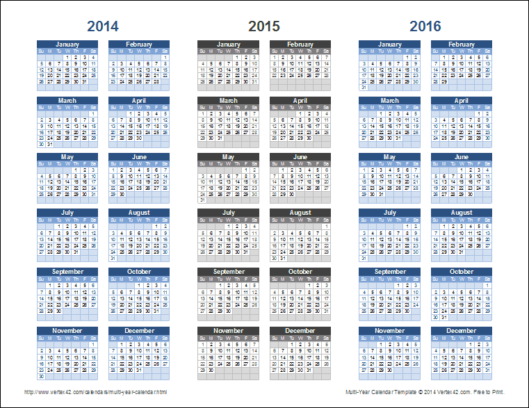 calendar multiple years