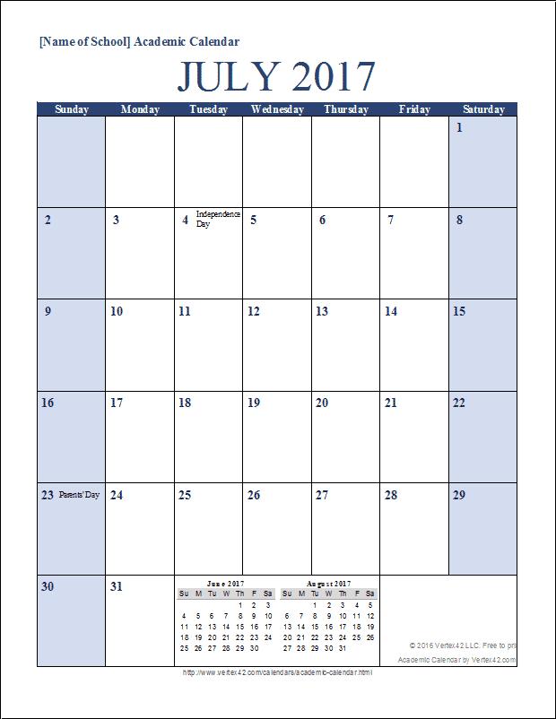 Academic Calendar (Portrait)