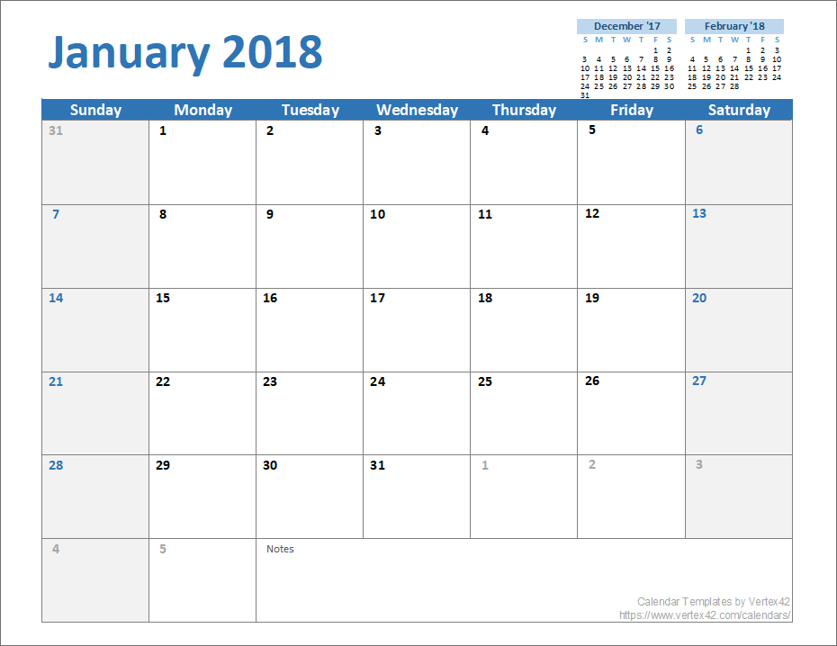 Free Monthly Calendar Template for Excel