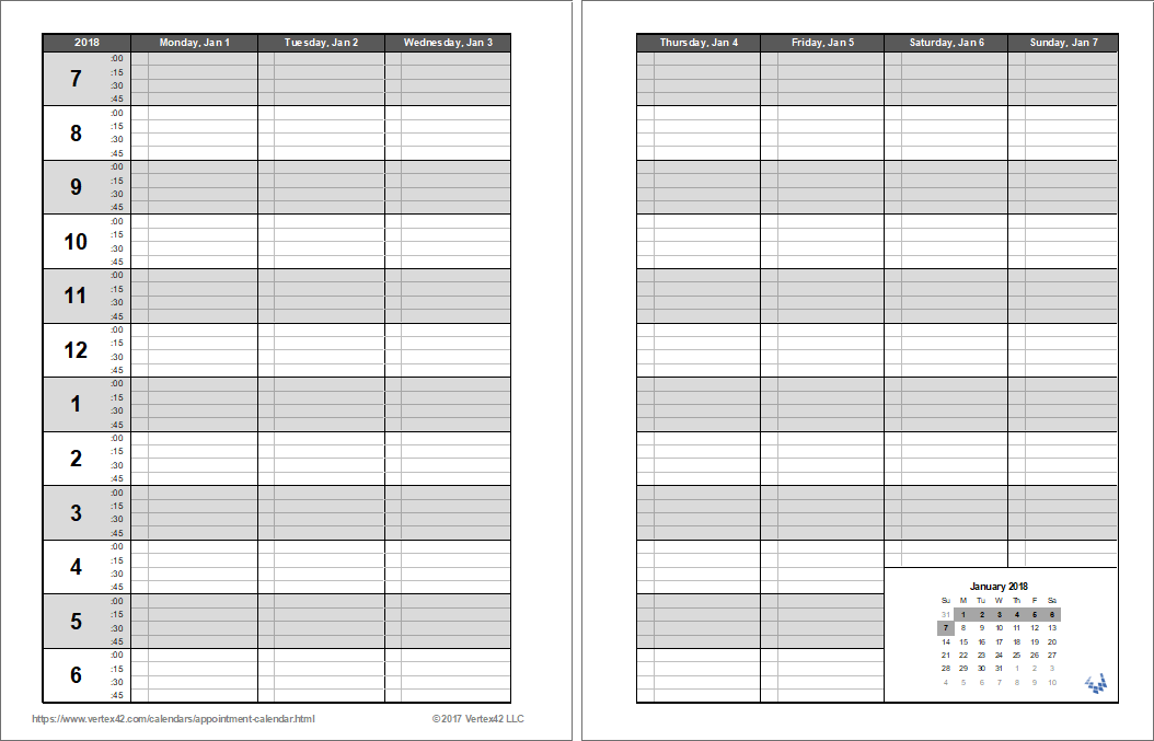 appointment book template free printable