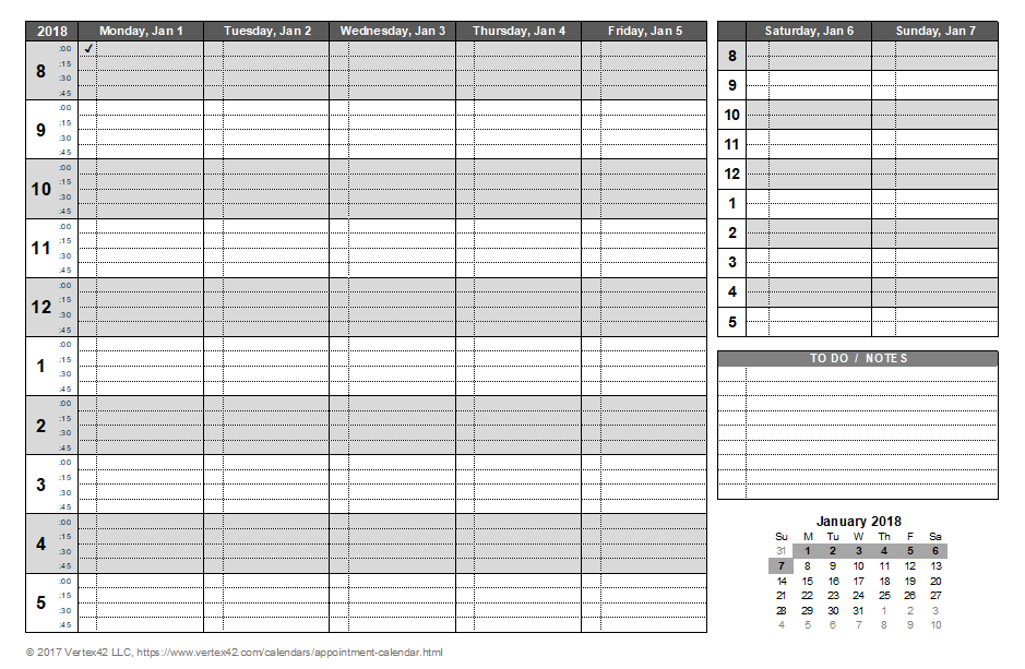 Appointment calendar templates for Appointment log template