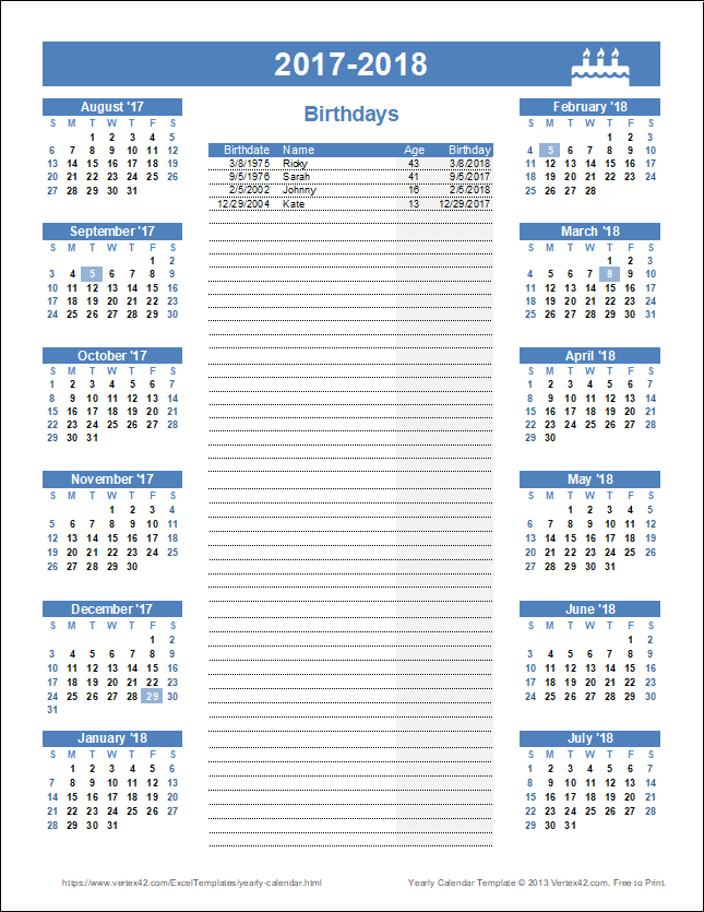 Birthday Calendar with Ages