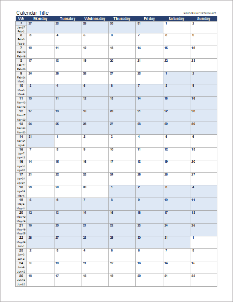 Monthly Calendar | Continuous Monthly Calendar For Excel
