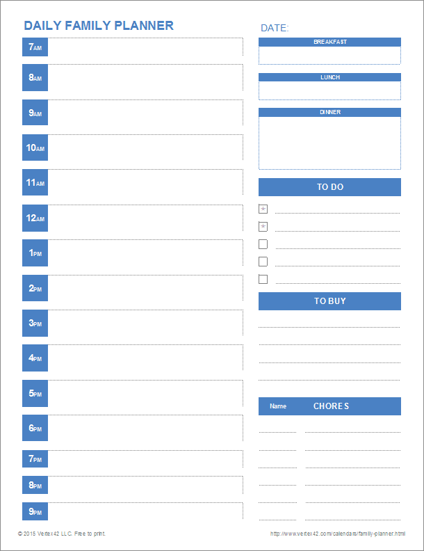 Daily Family Planner  Daily Calendar Template Word