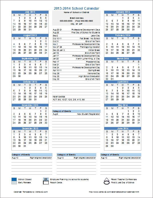 district school year calendar template