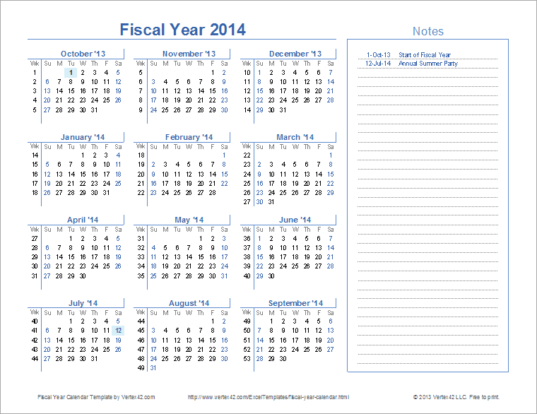 Fiscal Year Calendar Template for 2014 and Beyond TGITnZl6
