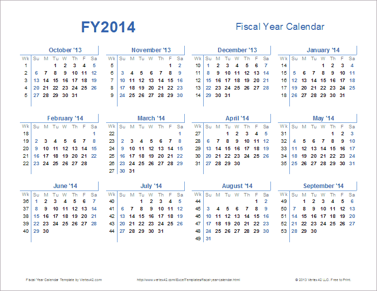Fiscal Year Calendar Template for 2014 and Beyond AR9LTrkA