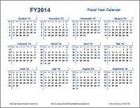 Fiscal Year Calendar - Landscape