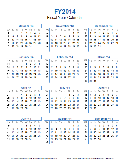Fiscal Year Calendar Template for 2014 and Beyond oQzz2bsw