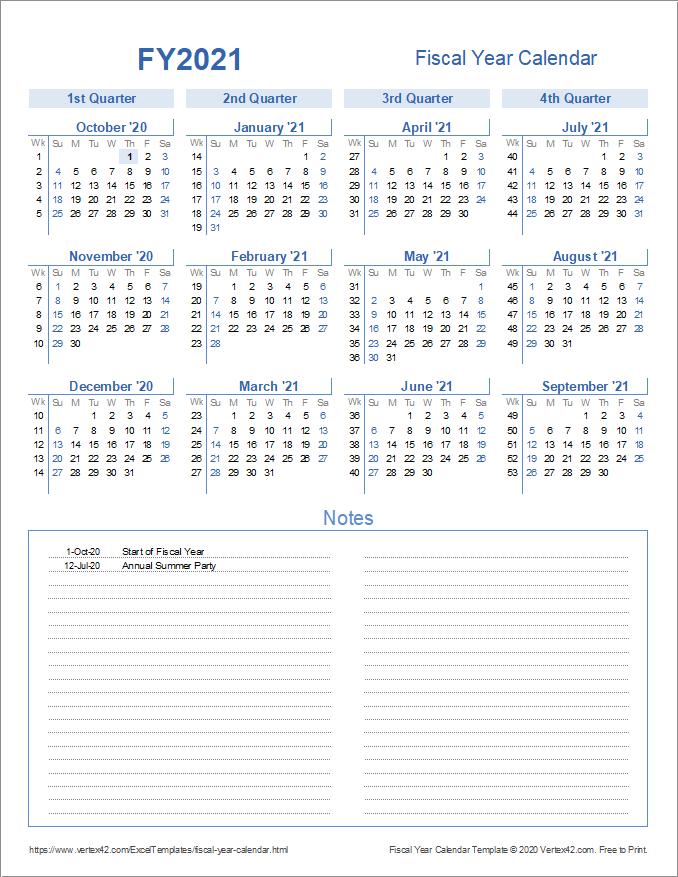 Fiscal Year Calendar Template in Quarters