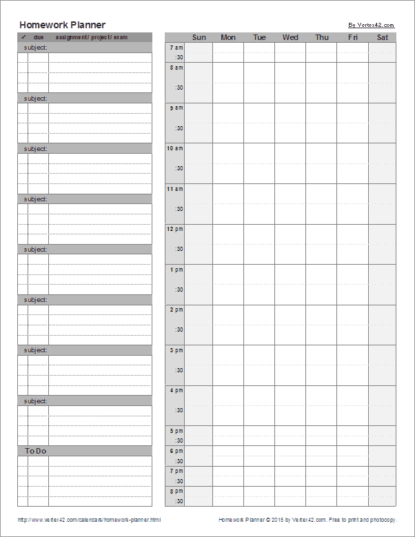 Homeschool Student Homework Planner