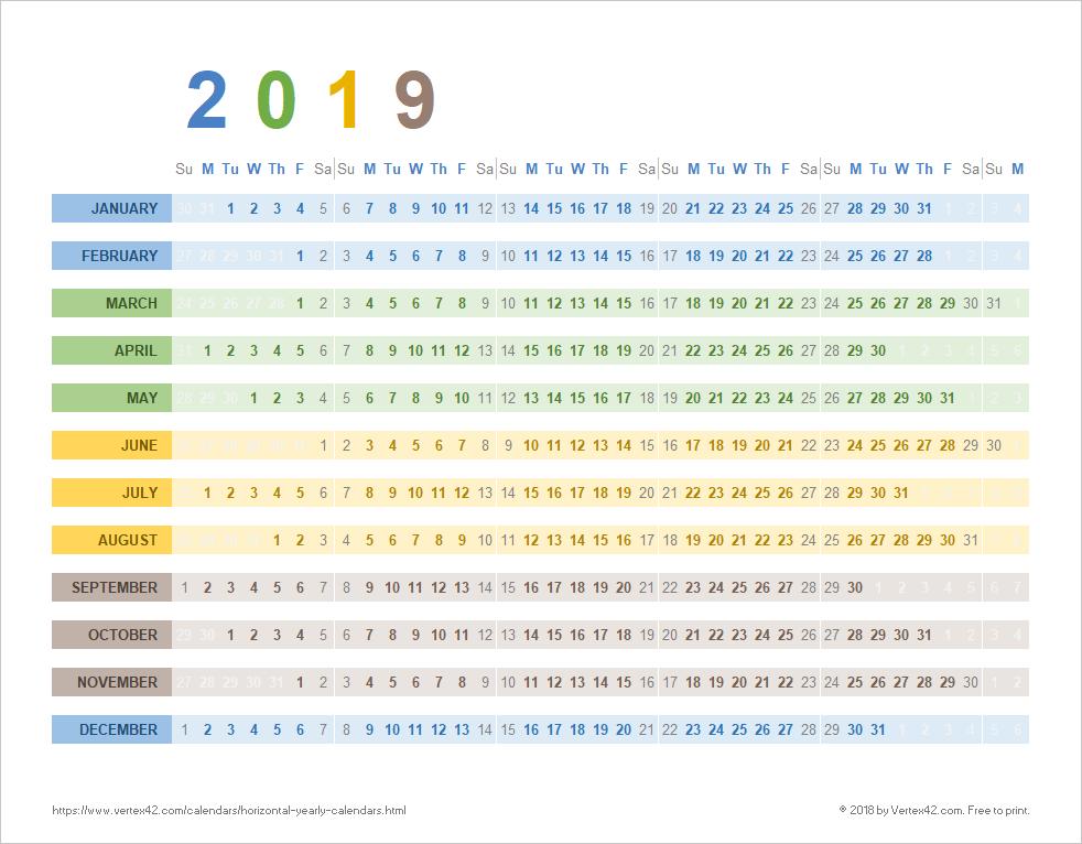 Horizontal Yearly Calendar (Seasons)