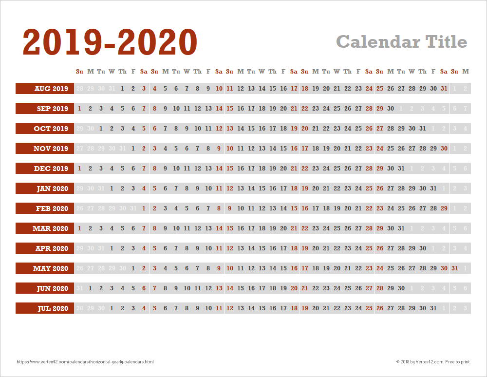Calendario In Excel 2020.Horizontal Yearly Calendar Templates