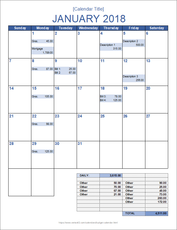 picture regarding Budget Calendar Printable named Every month Price range Calendar Template