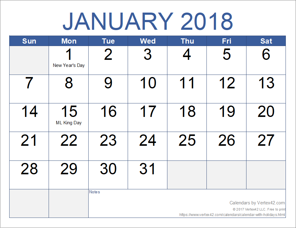 free 2018 monthly calendar with holidays