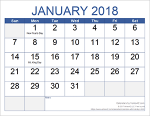 Monthly Calendar - Large Print