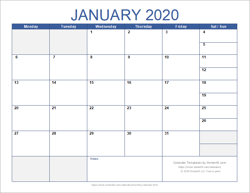Calendario In Excel 2020.Free Monthly Calendar Template For Excel