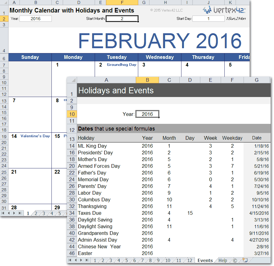picture about Perpetual Calendar Template referred to as Month-to-month Calendar with Vacations for Excel