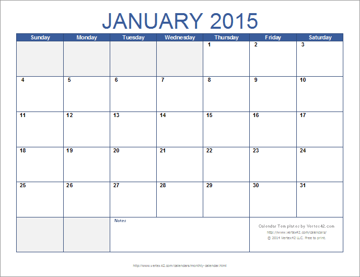 free monthly calendar template