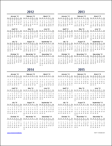 one year calendar template