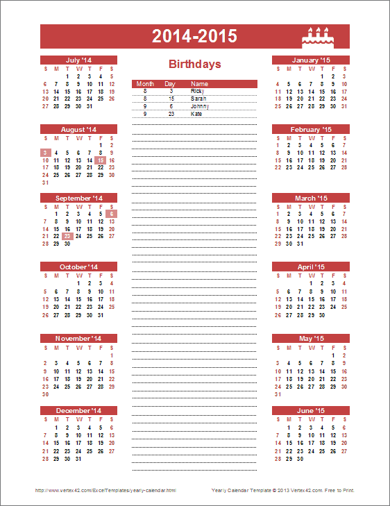 Birthday Calendar Template - Yearly Birthday Calendar