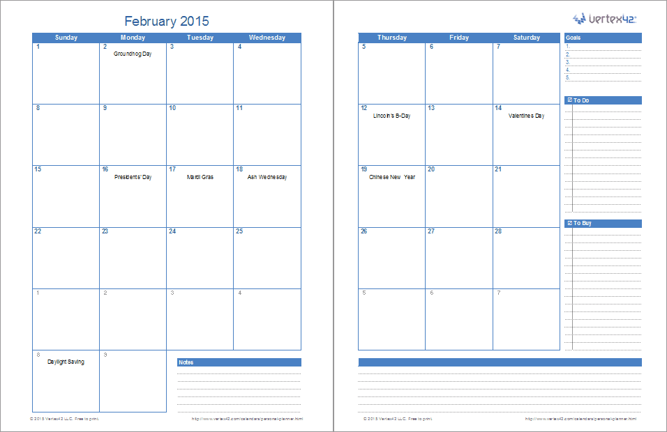 2 Page Monthly Planner  Downloadable Daily Planner