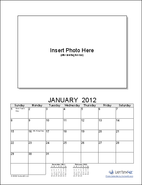 Photo Calendar Template - Create a Printable Photo Calendar