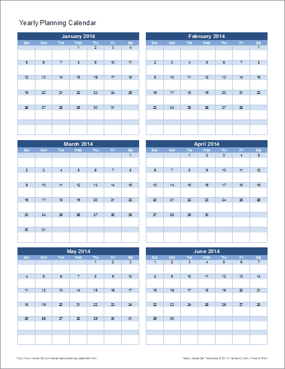 Yearly Planning Calendar Template