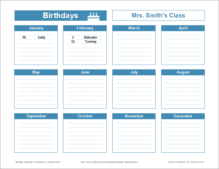 Birthday Reminder Calendar Template Printable