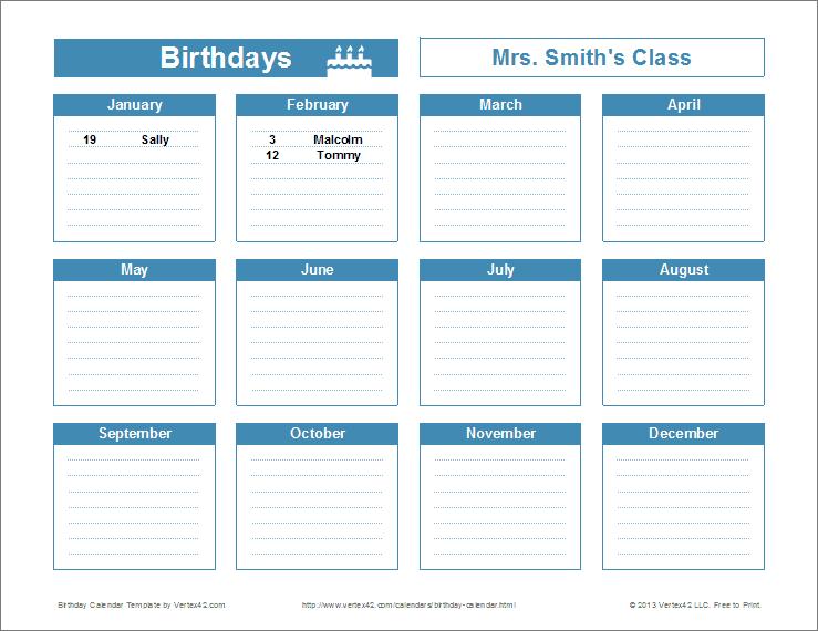 Birthday Reminder Calendar Template - Printable