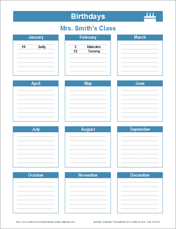 Birthday Reminder Calendar Template | New Calendar Template Site