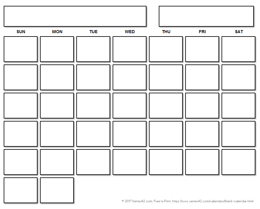 Printable blank calendar with a floating grid