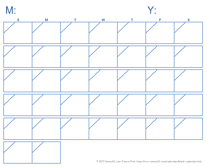 Blank Calendar Template - Free Printable Blank Calendars by Vertex42