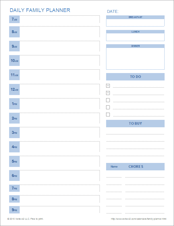 Printable Family Planner Templates for Excel – Daily Planning Template