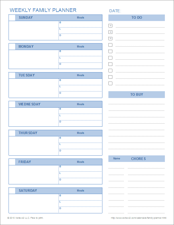 printable family planner templates for excel