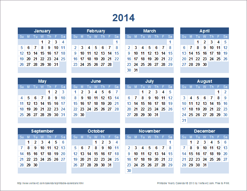 printable yearly calendar landscape view screenshot