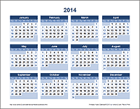 Printable Yearly Calendar - Landscape