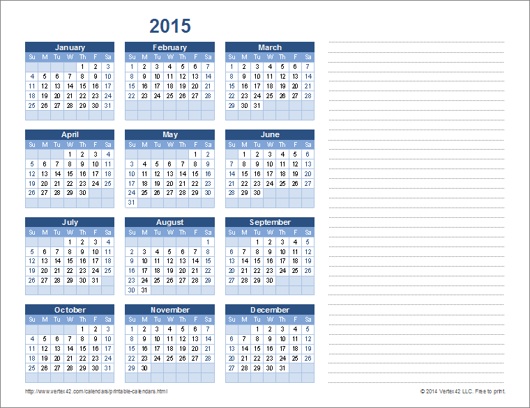 Monthly calendar 2015 with notes search results for 2015 yearly calendar template in landscape format