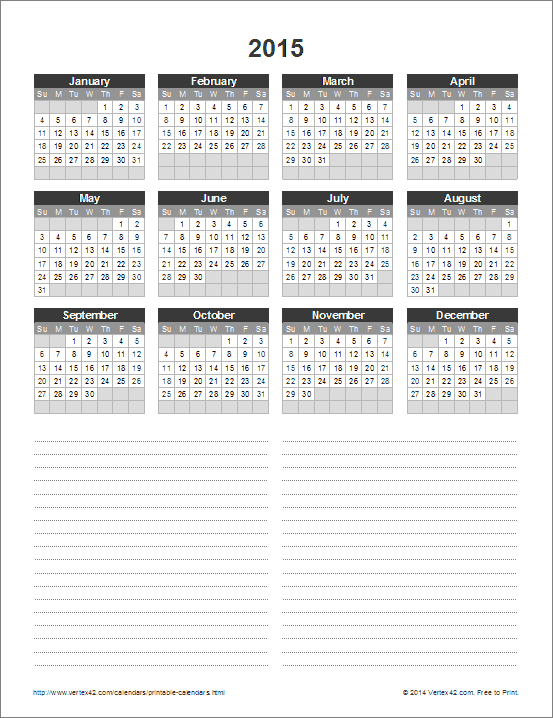 Year Calendar With Notes : Free printable calendar monthly calendars