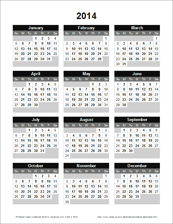 yearly calendar to print