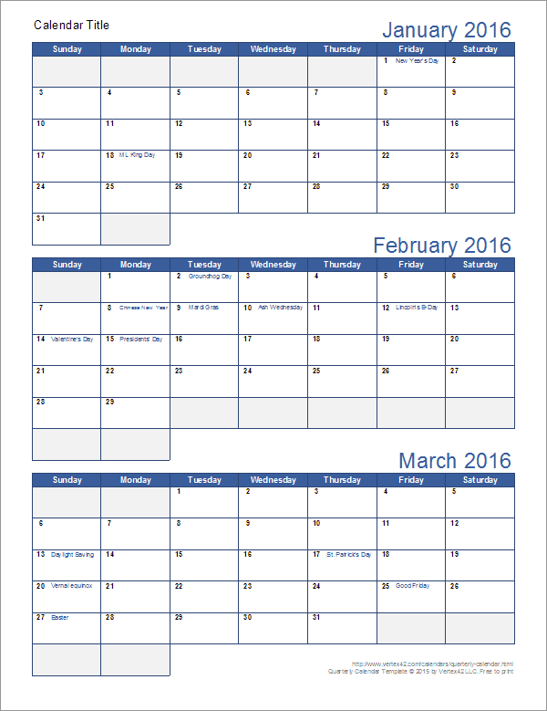 graphic about Printable 3 Month Calendar referred to as Quarterly Calendar Template