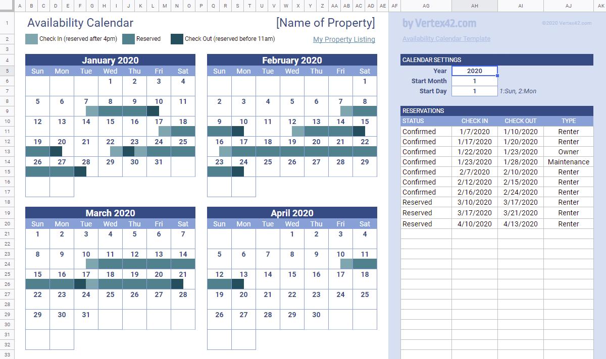 Rental Availability Calendar in Google Sheets
