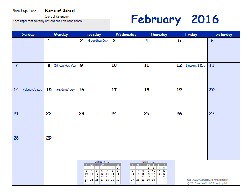school calendar download