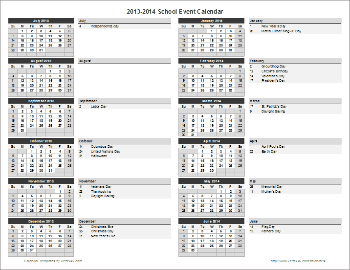 School calendar template 2018 2019 school year calendar for Annual calendar of events template
