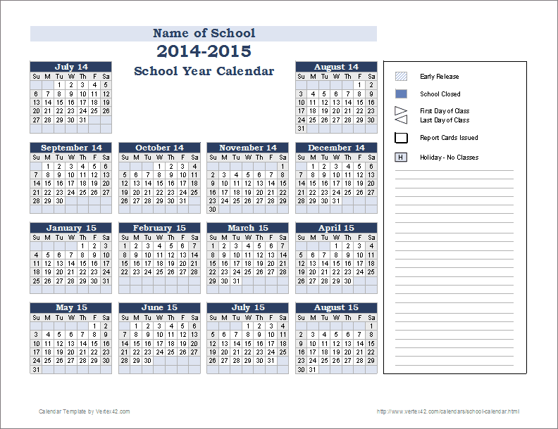 2014 And 2019 School Calendar School Calendar Template   2019 2020 School Year Calendar