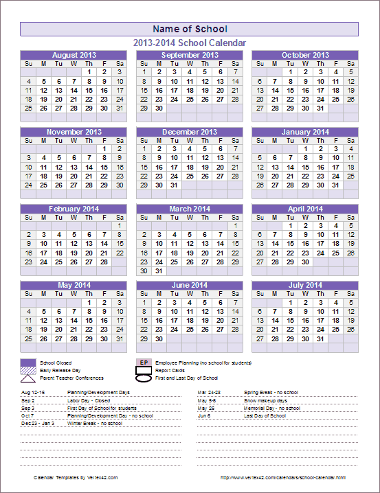 School Year Calendar for Excel