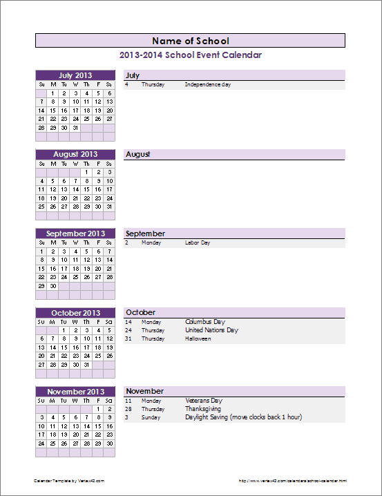 School Year Event Calendar  Calendar Templates In Word