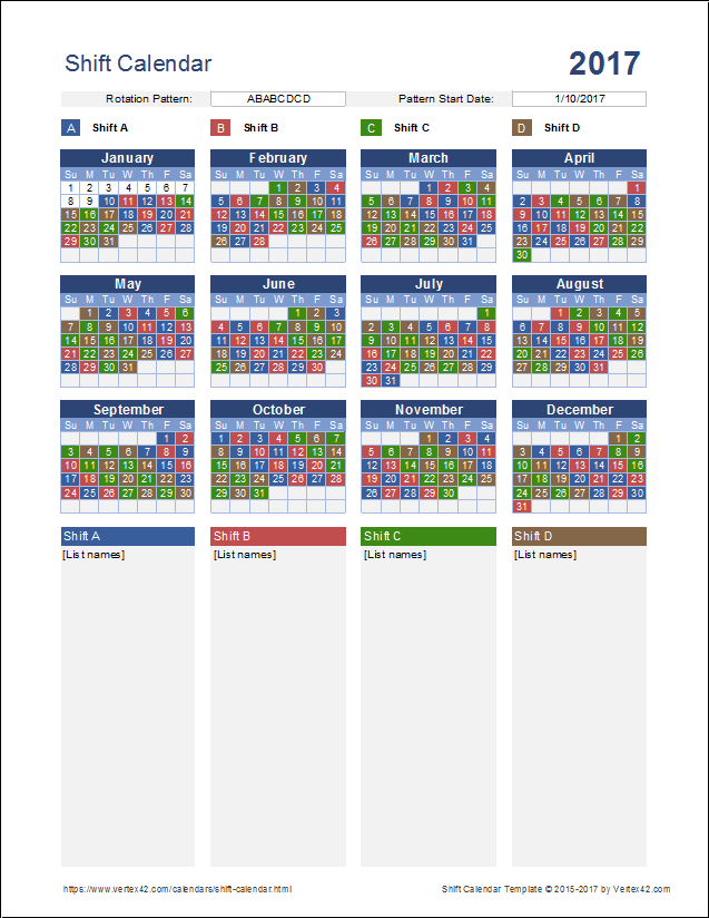 Calendar for 3 shift schedule template